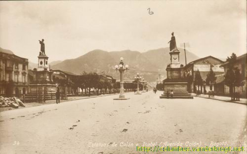 Bogota, Columbus and Isabella statues on the Avenida Colon, early 20th century
