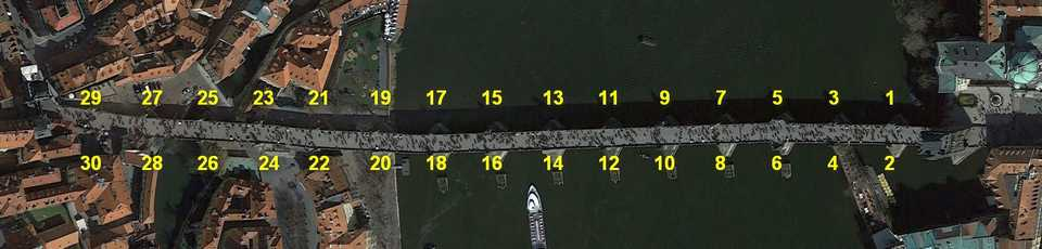Locations of the 30 sculptures on the Charles bridge, Google Earth